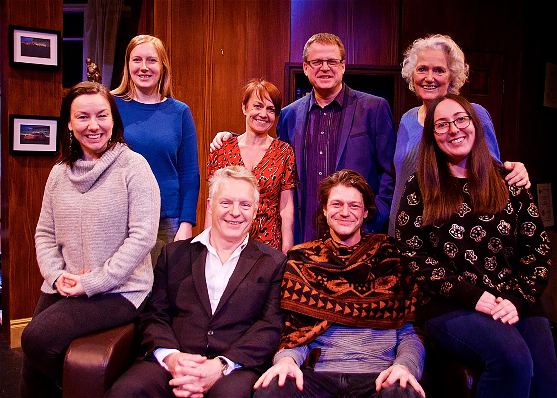 Revenge - the company - Sarah Gain (Understudy), Claire Childs (Lighting Designer), Nigel Fairs, Kate Ashmead, Martin Parsons (Producer), Toby Trimby (playing Mark Tilling), Louise Jameson (Director) & Alexandra Bradford (Stage Manager)